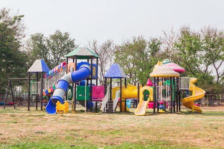 neighbours: Village public Playground with colourful plaything  for children Stock Photo