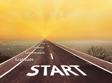 empatia: Text start on long road aboved blurred top city view with text gratitude, commitment, empathy, timimg and success with sunrise background for business concept idea Foto de archivo