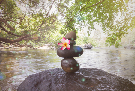 superimposed: Pink frangipani or plumeria on superimposed waterfall pebble rock arranged on big stone at waterfall background with copy space