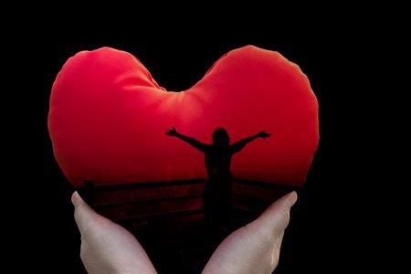 Immagini Stock Isolati Donne La Libertà Silhouette In Cuore Rosso