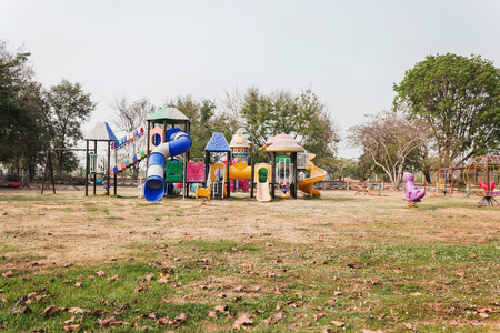 neighbours: Outdoor village public playground with colourful plaything  for children
