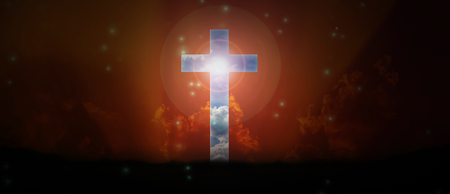 Light expel darkness concept background, Light from sky in crucifix trough space area Stock Photo
