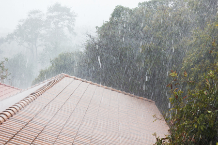 Raining hard from top roof tile or second floor view with nature tree background