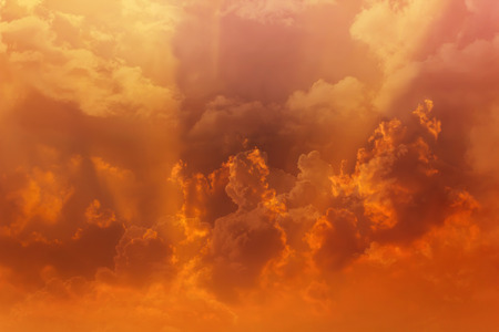 puffy: Beautiful dreamy colourful orange gold sky with puffy white clouds Stock Photo