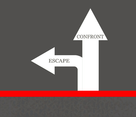onward: Red line at start point with text escape and confront on ground street arrow, concept of decision when meet problems Stock Photo