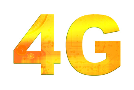 4g: Isolated orange and gold text 4G on white background