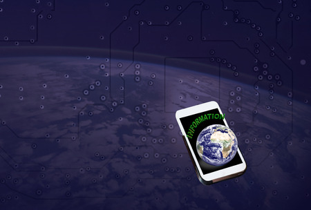 background information: Cellphone or mobile with text information and earth on soft technology line abstract background