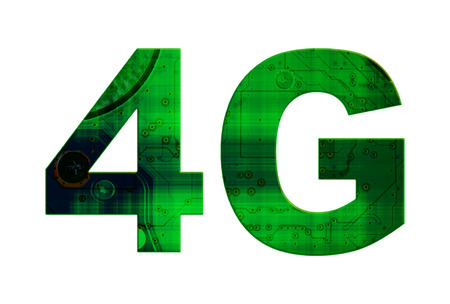 4g: Isolated green and black text 4G on white background