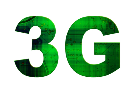 3g: Isolated green and black text 3G on white background Stock Photo