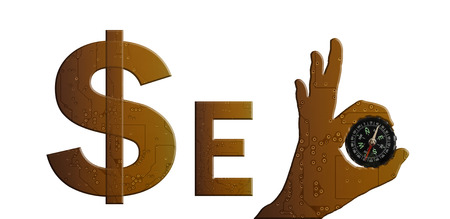 technolgy: Golden colour in technolgy style alphabet text SEO with hand pattern and compass, symbol, sign