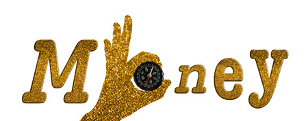 guid: Isolated hand pattern with compass for text money in luxury golden bokeh style on white background