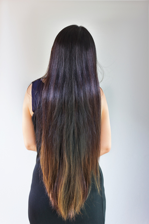 Back side or rare view of black and coloured damaged dry very long hair girl on plain background