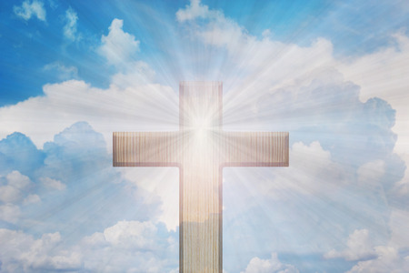 rood: Light of God, Light and cross,Light from sky or heaven shine trough crucifix form,heaven sky