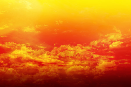 dreamy: Colourful puffy clouds golden sky with dreamy and fantasy mood, densely coulds on dreamy colourful sky in orange and golden tone with soft and amazing mood