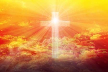 rood: Light from sky or heaven shine trough crucifix or cross form on colourful golden shining puffy clouds sky, heaven dreamy golden sky with crucifix or cross and God light