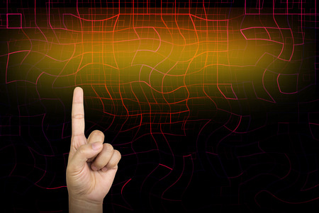 indicate: Hand and finger point or indicate directly to glow light bank area for text on abstract red dimension line with blank space for business concept background Stock Photo