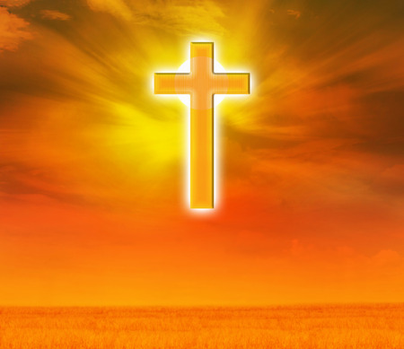 expel: Light expel darkness concept background, Light from sky or heaven shine trough crucifix  or cross on golden sky, god, believe and hope crucifix golden shining background Stock Photo