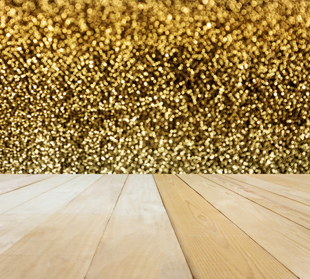 jointed: Blank area or space table top onluxyru golden sparkle shining bokeh background, jointed wood table top for putting background