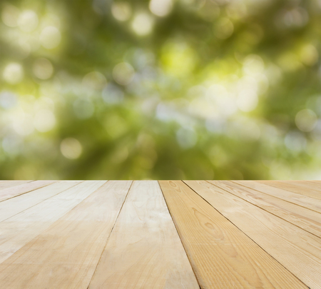 jointed: Blank area or space table top on bokeh green nature background, jointed wood table top for putting background
