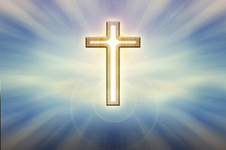 time to shine: God light trough crucifix form on glow shining blue background, believe, hope ,trust,heaven and God background