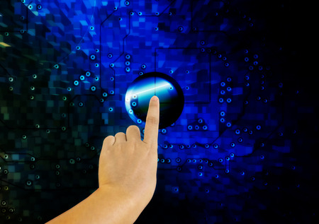 node: Hand and finger press or push big button or node on electronic technolgy blue background