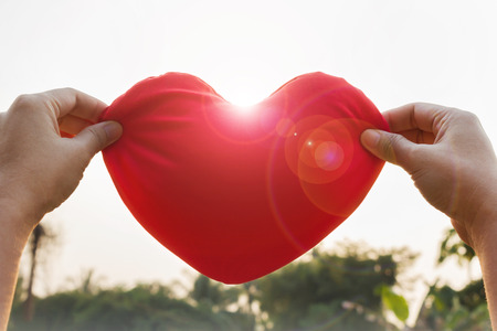 gently: Romantic lovely valentine concept with hand gently raise up red heart with sunlight lens flare, love and care concept