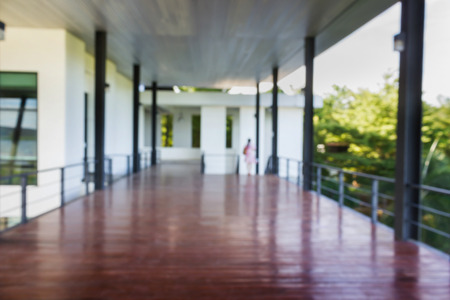 commodious: Blurred background of wooden floor terrace or balcony,open roomy space area at porch at second floor