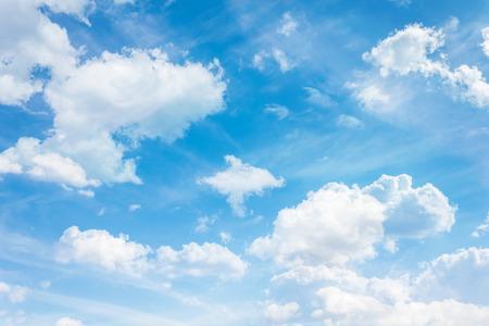 puffy: Puffy clouds on fresh cheerful blue sky
