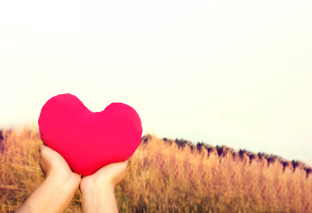 nourish: Two hands gently raise and hold big red heart with love and respect with background of nature in vintage brown colour tone  for valentine or take care with love concept idea Stock Photo