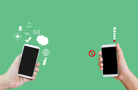 no signal: Isolated hands show or present big blank screen mobile or cellphone or smartphone on plain background, on internet and no signal smartphone, connected and disconnected