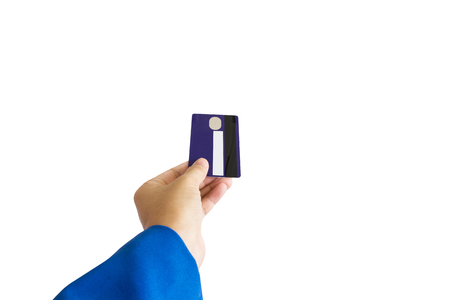 pay cuts: Isolated business women hand with credit or debit ATM card on white background with clipping path