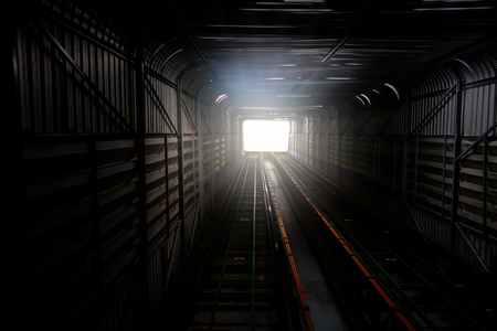 way out: Light at way out or exit rail or track lane in tunnel
