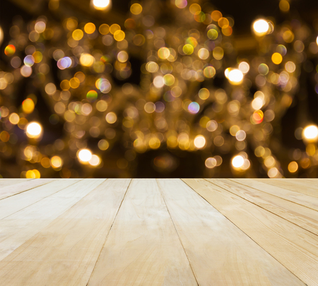 jointed: Jointed wood table top for putting products on Xmas bokeh light background