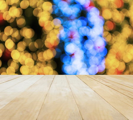 jointed: Jointed wood table top for putting products on Xmas New Year theme green bokeh background Stock Photo