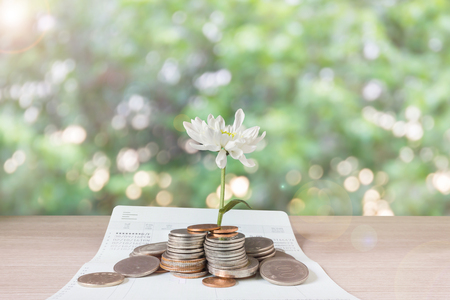 bank records: Coins and flower on book bank account and green bokeh background