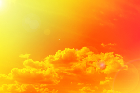 Abstract colourful golden dreamy sky with lense flare