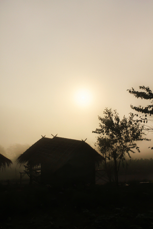 Silhouette small hut and tree shadow in densely fog in winter morning with sunrise background on sky