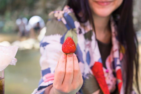 One or single strawberry in hand of women, hand raise strawberry fruit with blur background of smiling Asian women Standard-Bild