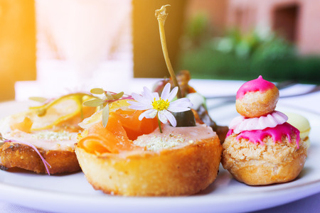 The dessert canape style decoration for event, canape on white dish
