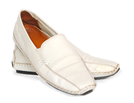 loafers: Womens white leather loafers