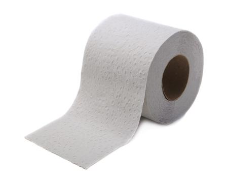 aseo: Aislado en el papel higiénico blanco Foto de archivo