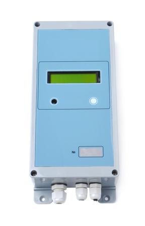 ultrasonic: Ultrasonic flow meter isolated on white Stock Photo