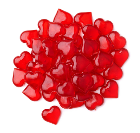 dimensional: Group of red plastic hearts isolated on white Stock Photo