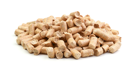 Wood pellets isolated on white background