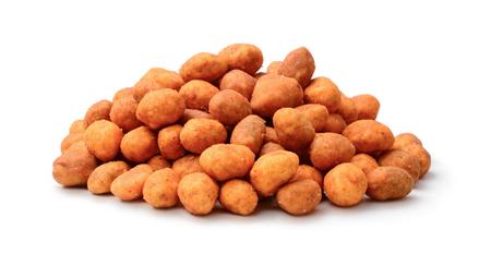 Pile of peanuts glazed seasoning isolated on white