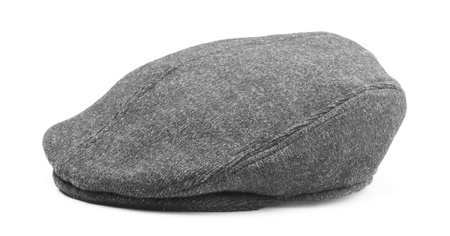 Gray mens wool cap isolated on white background