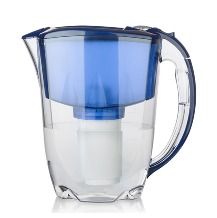 Water filter in a plastic jug isolated on white background