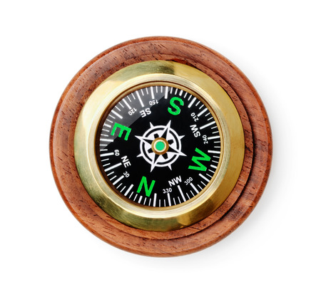 Old style wooden compass top view isolated on white 写真素材