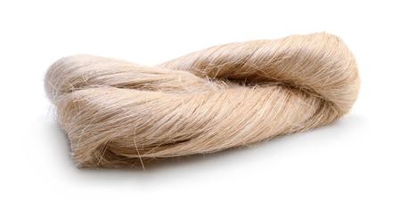 Raw flax fiber isolated on white background Imagens