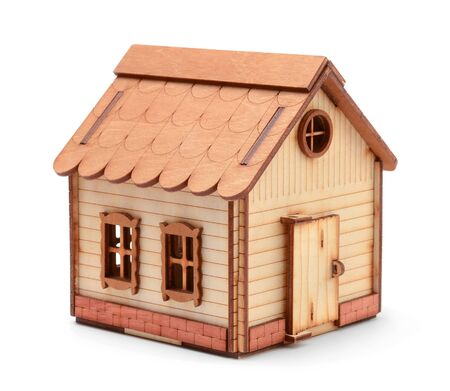 Wooden toy house isolated on white background
